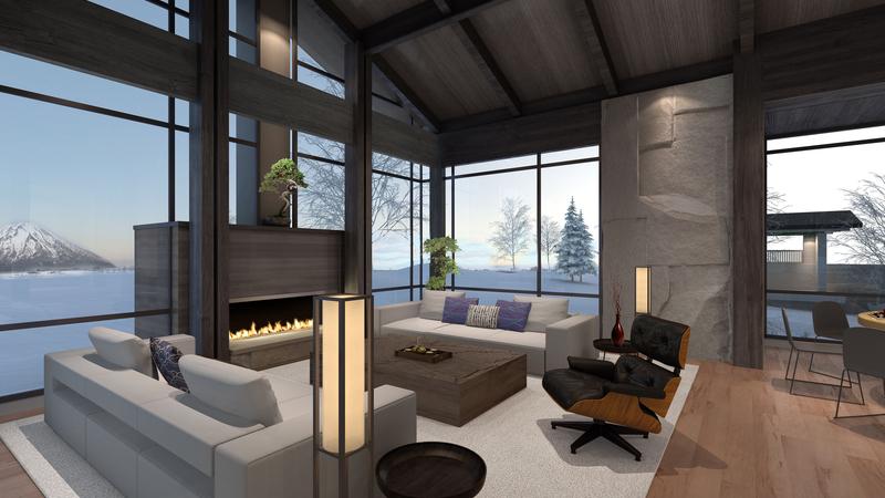 Niseko Show House Renderings Living Room 1